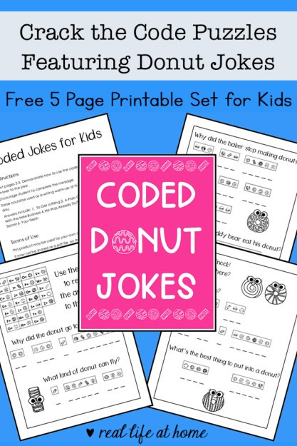 Cracking the Code Math Worksheets Crack the Code Puzzles Free Printable Featuring Donut Jokes