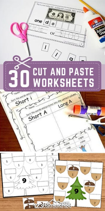 Cut and Paste Math Worksheets 30 Free Cut and Paste Worksheets
