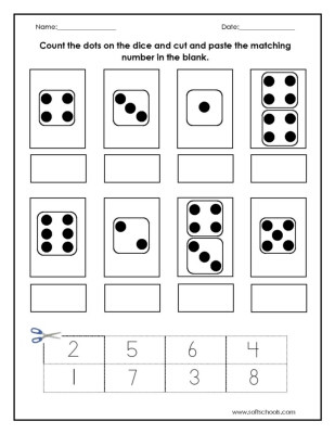 Cut and Paste Math Worksheets Count the Dots On the Dice and Cut and Paste the Matching