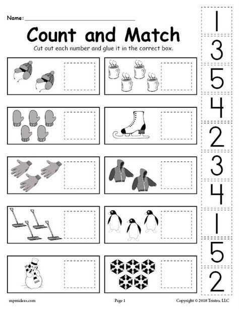 Cut and Paste Math Worksheets Free Printable Cut and Paste Math Worksheets for Kindergarten