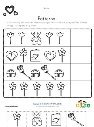 Cut and Paste Math Worksheets Valentine S Day Cut and Paste Patterns Worksheet