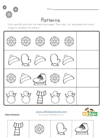 Cut and Paste Math Worksheets Winter Cut and Paste Patterns Worksheet