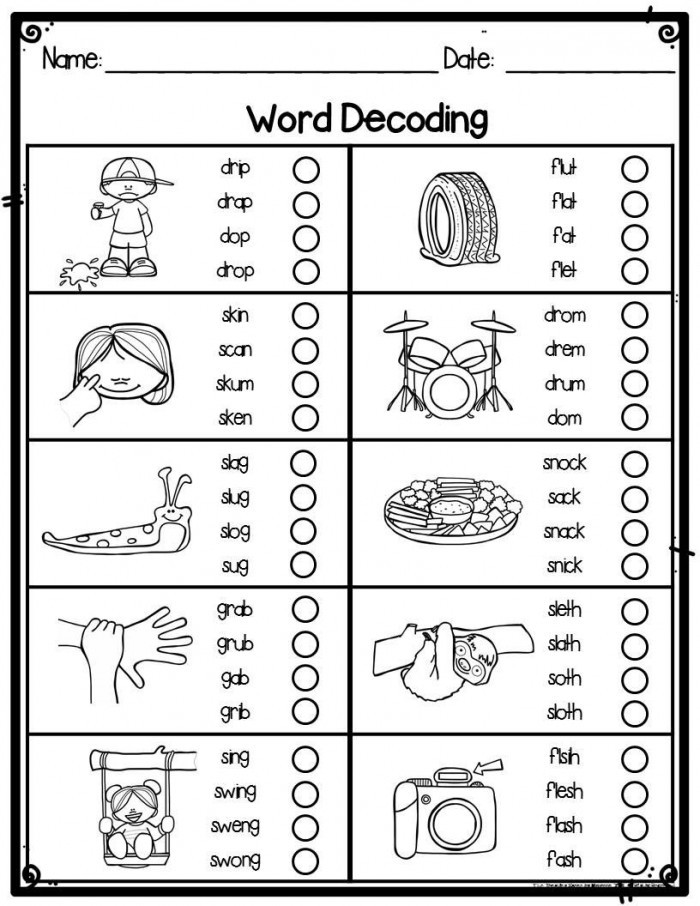 Decoding Worksheets for 1st Grade Decoding Using Beginning and End sounds Worksheets