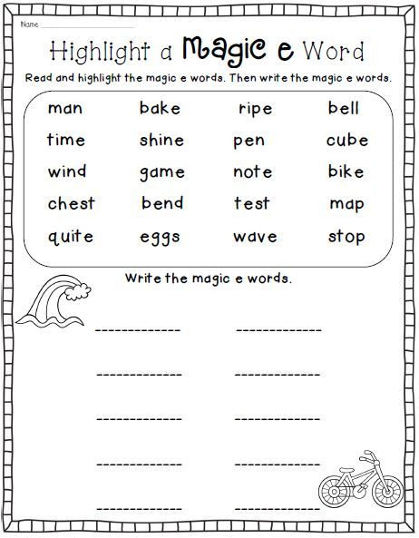 Decoding Worksheets for 1st Grade Magic E Long Vowel Cvce Phonics Word Work Printables