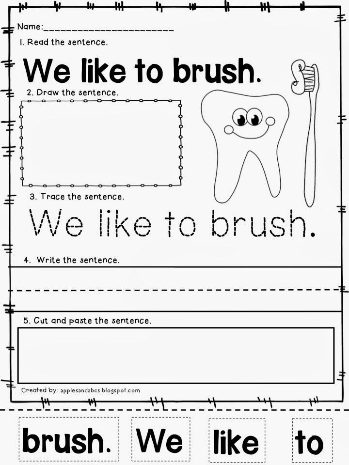 Dentist Worksheets for Kindergarten Winter Sentences