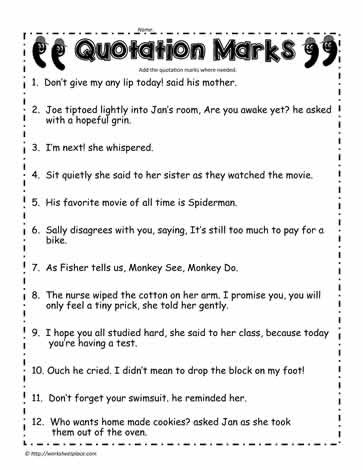 Dialogue Worksheets 3rd Grade Quotation Marks Worksheet 2 Worksheets