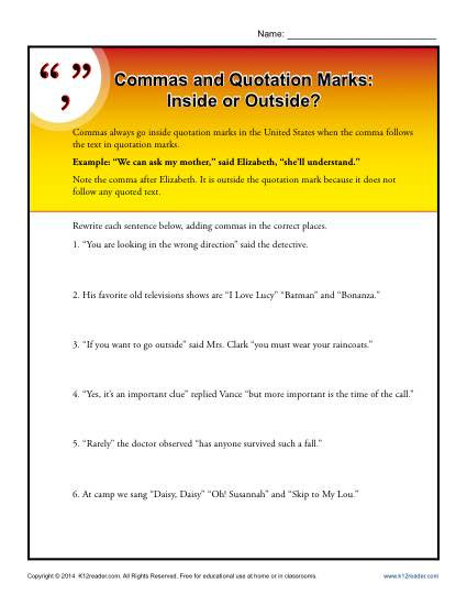 Dialogue Worksheets 4th Grade Mas and Quotation Marks Inside or Outside