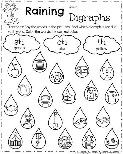 Digraph Worksheets for First Grade First Grade Worksheets for Spring