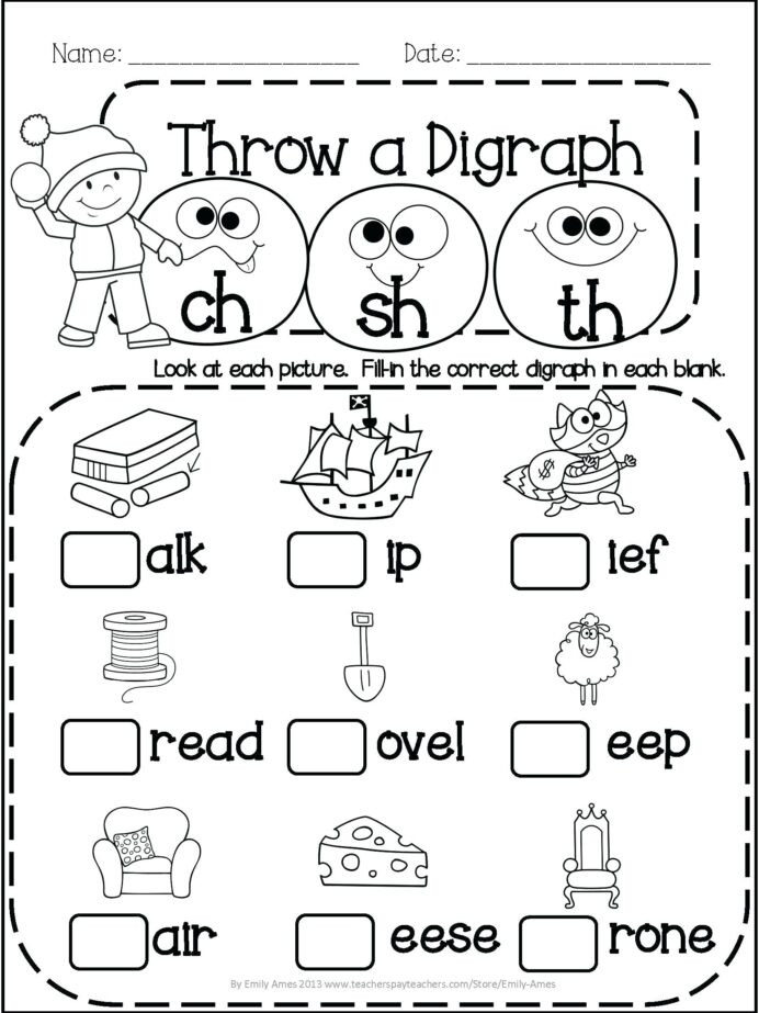 Digraph Worksheets for First Grade Math Worksheet Outstanding English Worksheets for 1st Grade