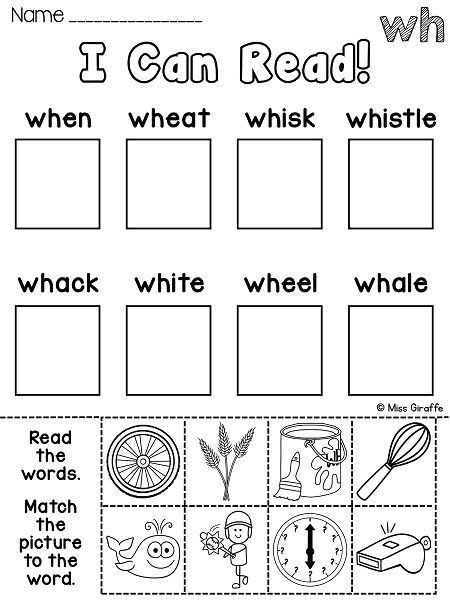 Digraph Worksheets for First Grade Wh Worksheets & Activities No Prep