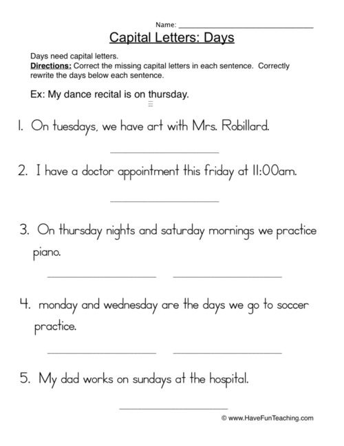 Editing Worksheet 3rd Grade Capitalization Worksheets • Have Fun Teaching