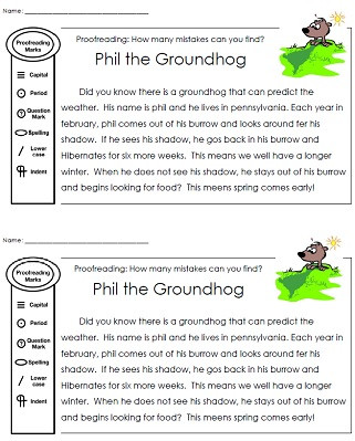 Editing Worksheet 3rd Grade Groundhog Day Worksheets