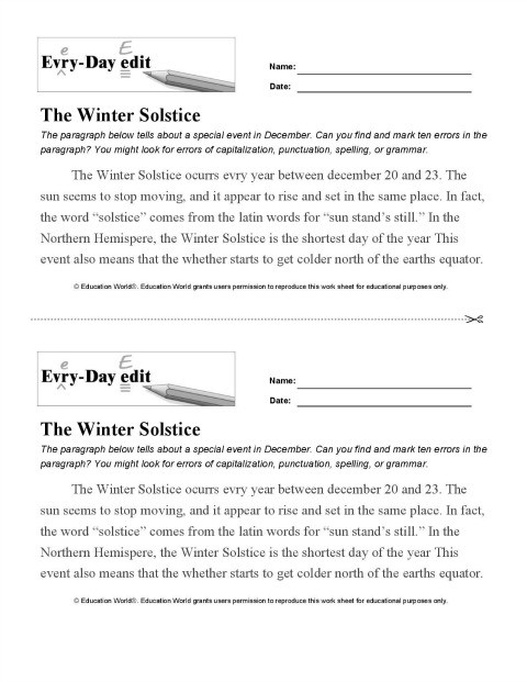 Editing Worksheets 3rd Grade Every Day Edit Winter solstice Printable