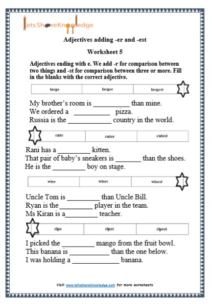 Er Est Worksheets 2nd Grade Grade 1 Grammar Adjectives Adding Er and Est