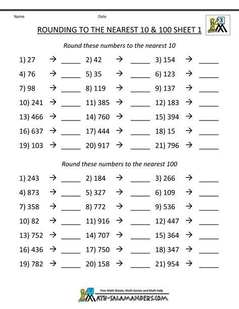 Estimation Worksheets 3rd Grade Rounding Numbers Worksheets to the Nearest 100