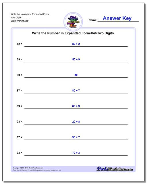 Expanded form Worksheets 5th Grade Standard Expanded and Word form