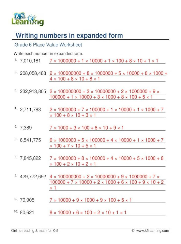 Expanded form Worksheets 5th Grade Writing Numbers In Expanded form K5 Learning Grade 6 Place