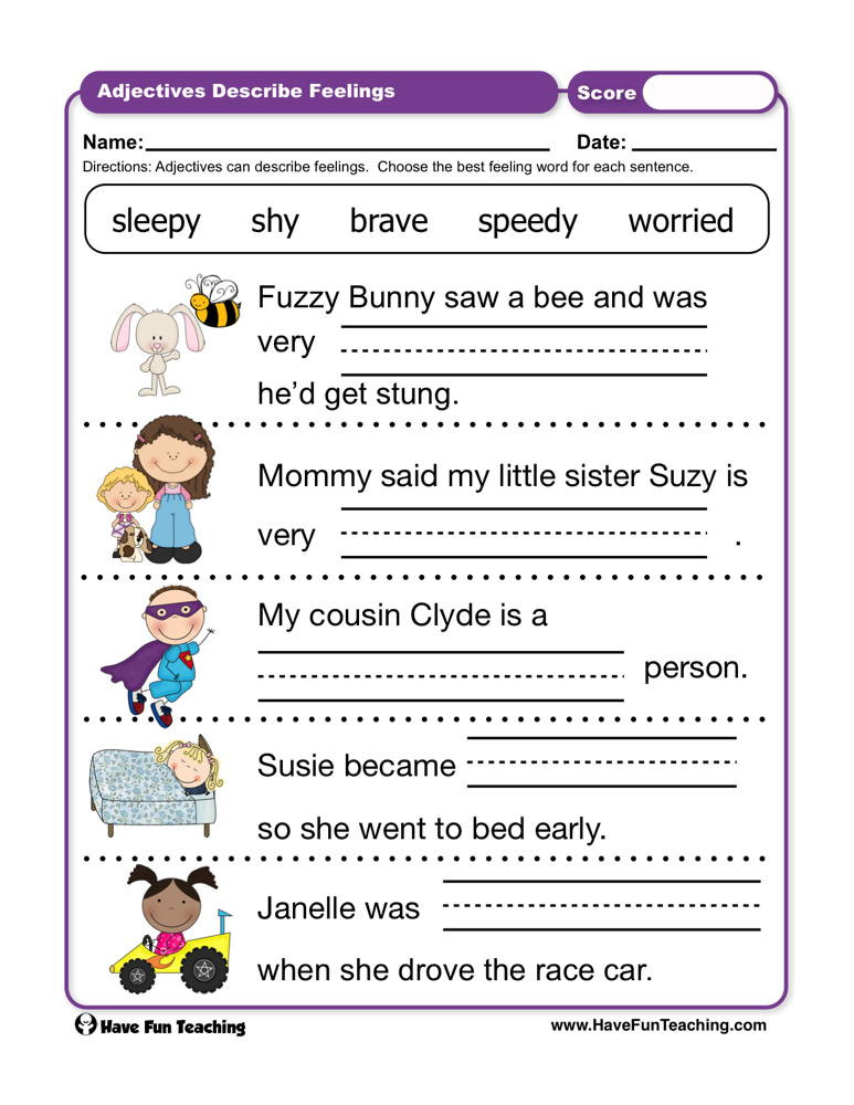 Feelings Worksheets for Kindergarten Adjectives Describe Feelings Worksheet
