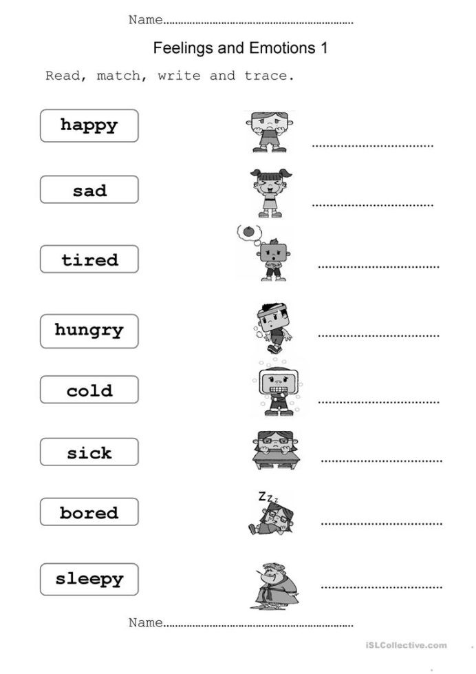 Feelings Worksheets for Kindergarten Feelings and Emotions English Esl Worksheets for Distance