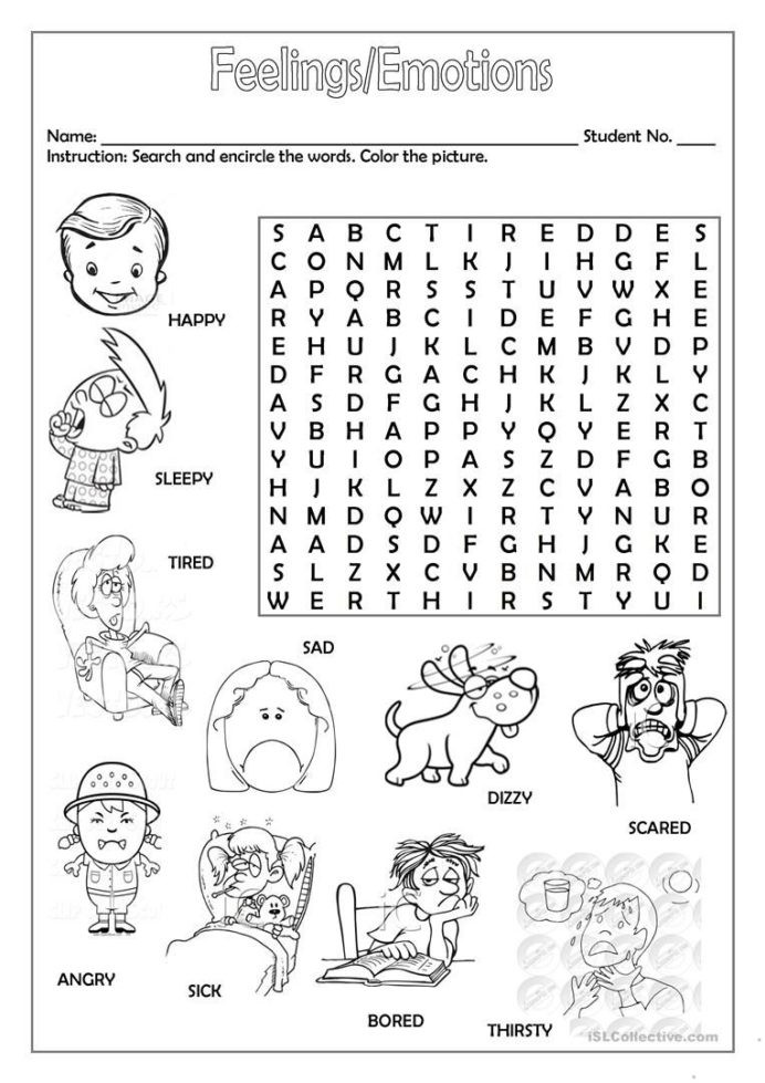 Feelings Worksheets for Kindergarten Feelings Emotions with English Worksheets for Kids