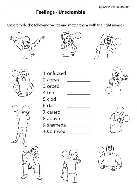 Feelings Worksheets for Kindergarten Feelings Unscramble B&w Worksheet