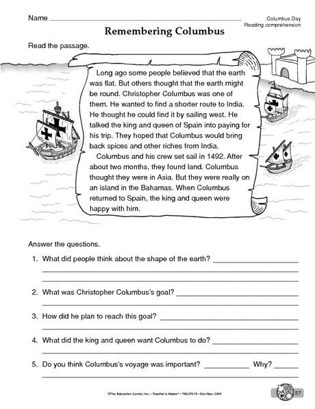 Fifth Grade social Studies Worksheets Columbus Day Worksheet Reading Prehension Reading