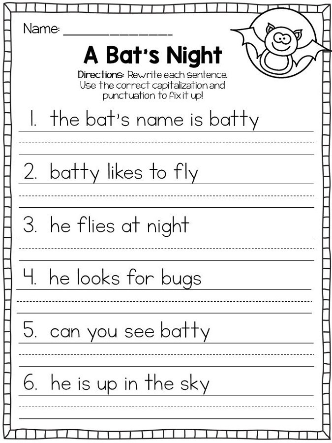 First Grade Capitalization Worksheets Capita Letter Worksheets Printable