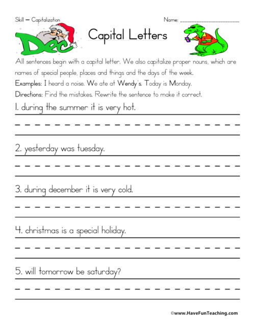 First Grade Capitalization Worksheets Capitalization Worksheets • Have Fun Teaching