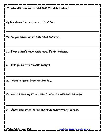 First Grade Capitalization Worksheets Capitalization Worksheets for First Grade – Mreichert Kids