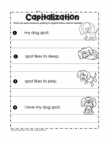 First Grade Capitalization Worksheets Fix the Sentences Worksheets