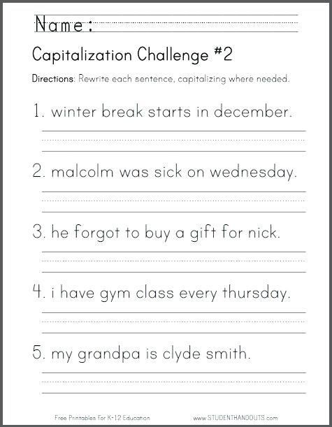 First Grade Capitalization Worksheets Pin by Kristle Dublin On 1st Grade