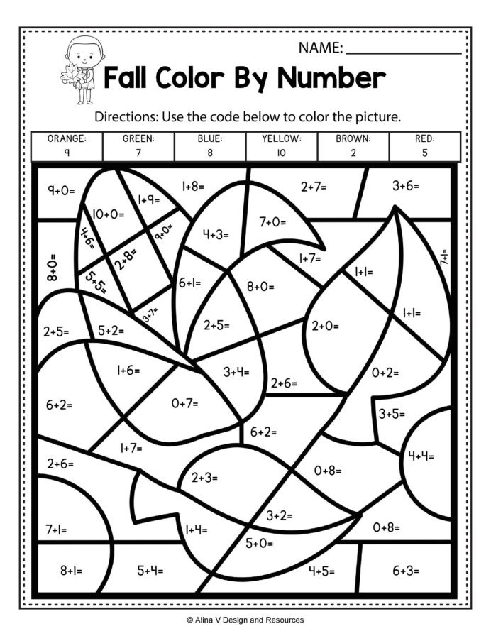 First Grade Graphing Worksheets Fall Color by Number Addition Math Worksheets and Back to
