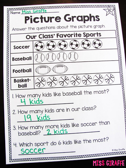 First Grade Graphing Worksheets Miss Giraffe S Class Graphing and Data Analysis In First Grade
