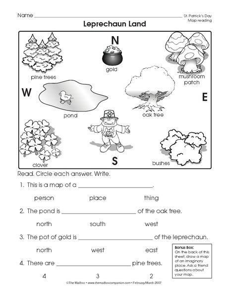 First Grade Map Skills Worksheets Reading A Map Worksheet Easy and Free to Click and Print