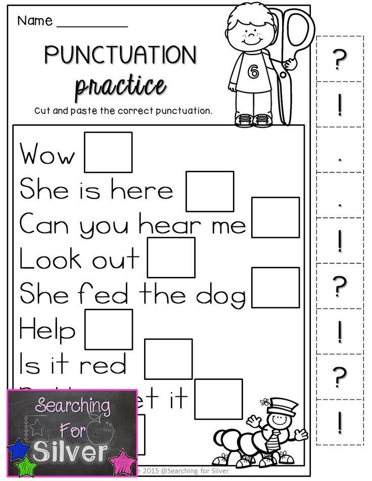 First Grade Punctuation Worksheets Back to School Math & Literacy Printables 1st Grade