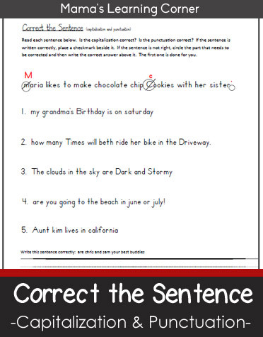 First Grade Punctuation Worksheets Correct the Sentence Capitalization and Punctuation