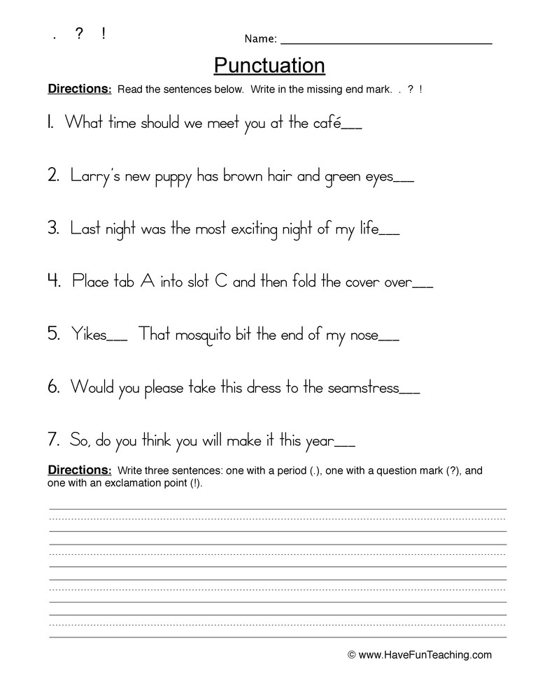 First Grade Punctuation Worksheets Including End Punctuation Worksheet