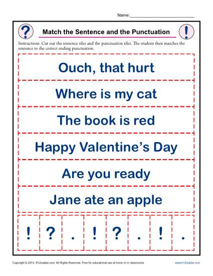 First Grade Punctuation Worksheets Match the Sentence and the Punctuation
