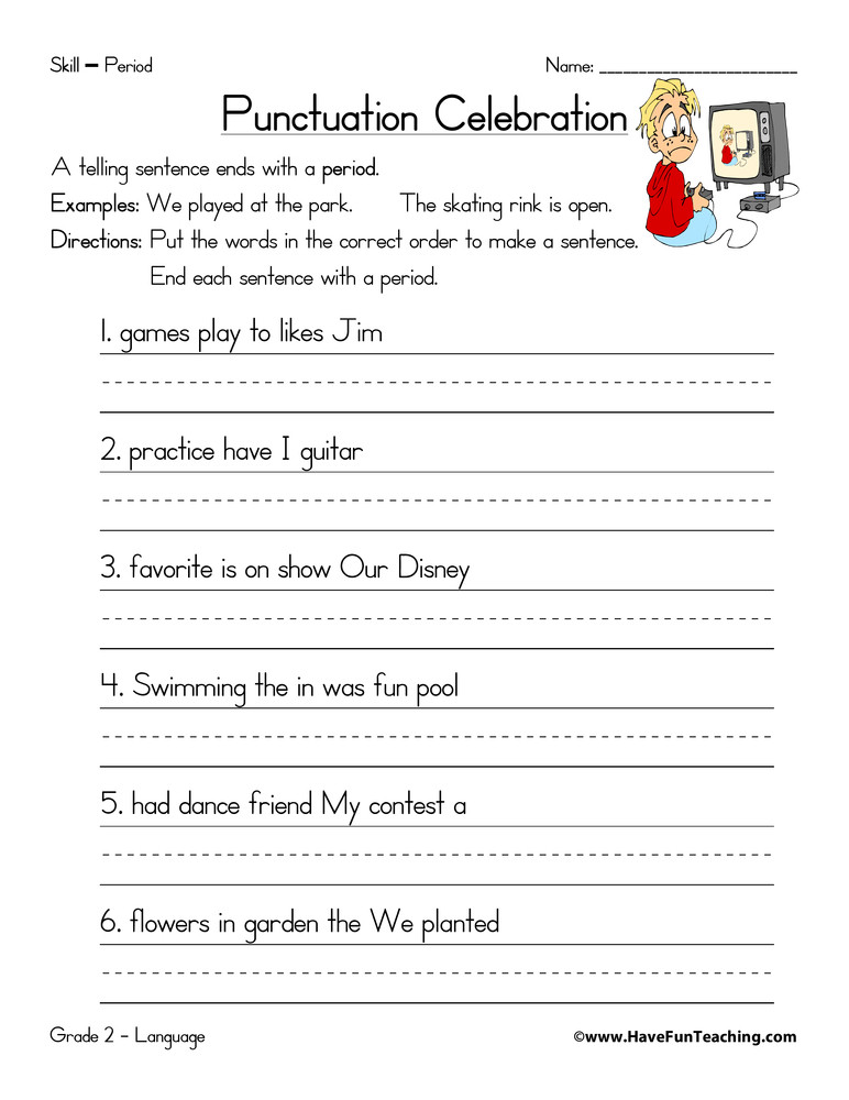 First Grade Punctuation Worksheets Period Worksheet