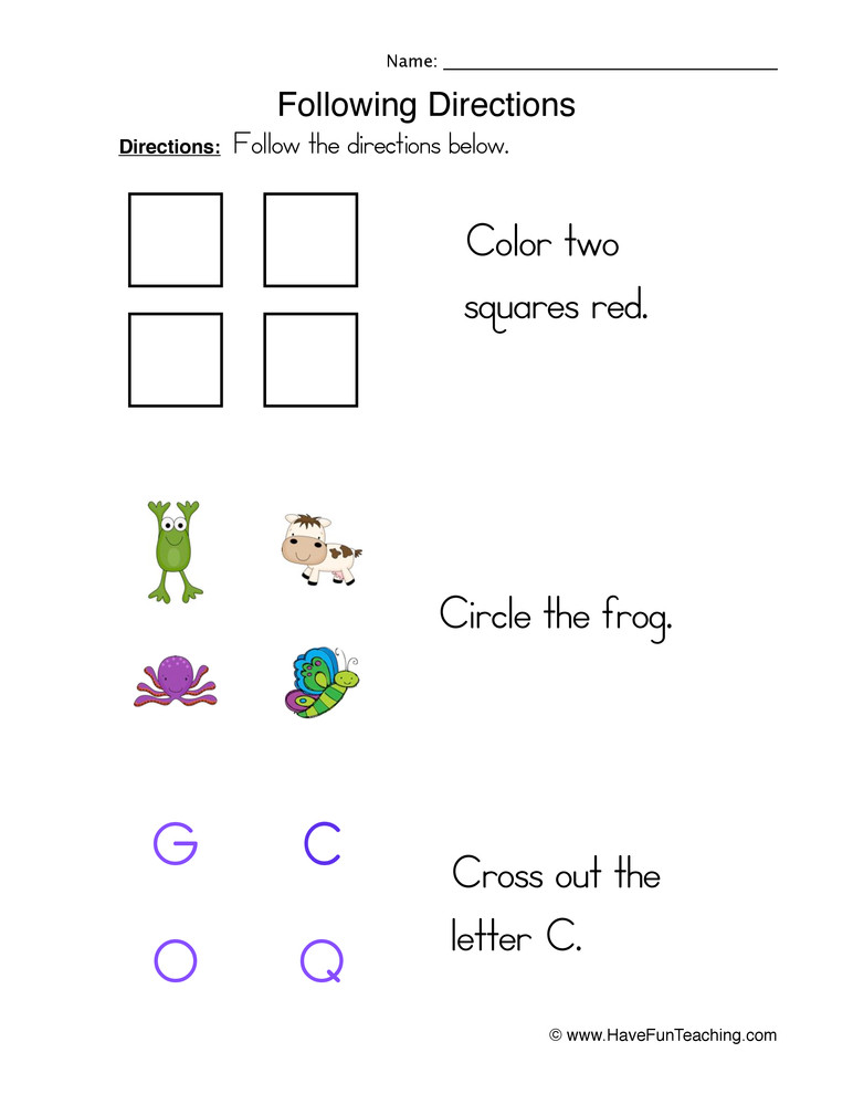 Follow Directions Worksheet Kindergarten Following Directions Tasks Worksheet