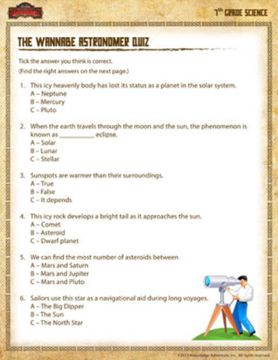 Free 7th Grade Science Worksheets the Wannabe astronomer Quiz Printable 7th Grade Science