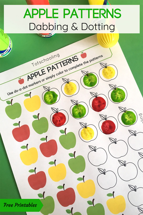 Free Printable Apple Worksheets Apple Patterns Do A Dot Activity