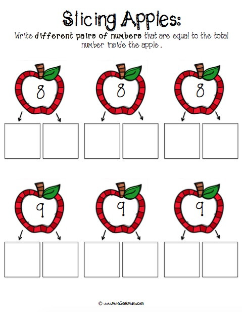 Free Printable Apple Worksheets Number Bonds with Apple Slices Free Printables