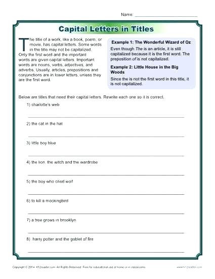 Free Printable Capitalization Worksheets Capitalization Worksheets Middle School Punctuation and