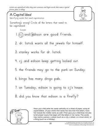 Free Printable Capitalization Worksheets Free Printable Grammar Worksheets for 6th Graders