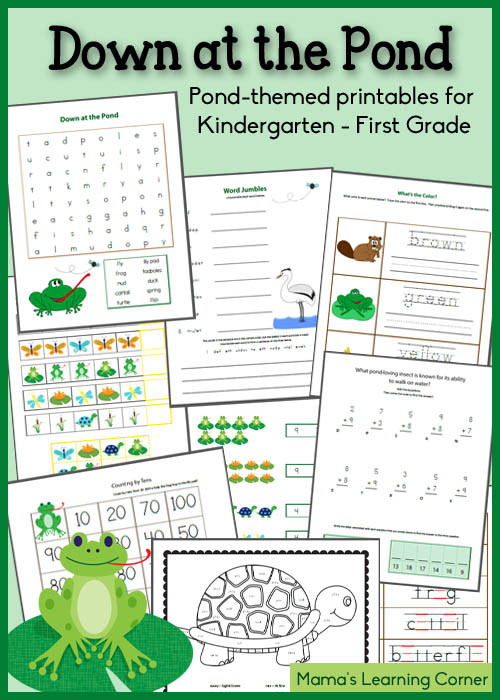 Free Printable Ecosystem Worksheets Down at the Pond Worksheet Packet for Kindergarten and First