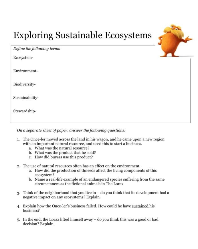 Free Printable Ecosystem Worksheets Introduction Sustainable Ecosystems Worksheet Thursday