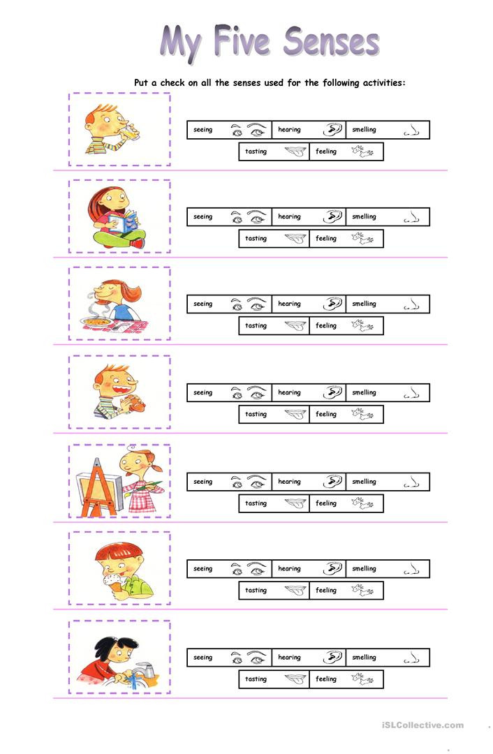 Free Printable Five Senses Worksheets My Five Senses English Esl Worksheets for Distance