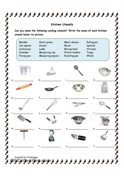 Free Printable Life Skills Worksheets Free Kitchen Utensils Printable