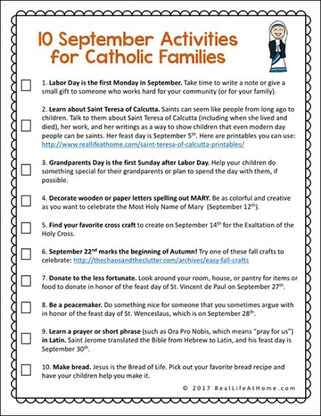 Free Printable Religious Worksheets 10 September Activities for Catholic Families Free Printable